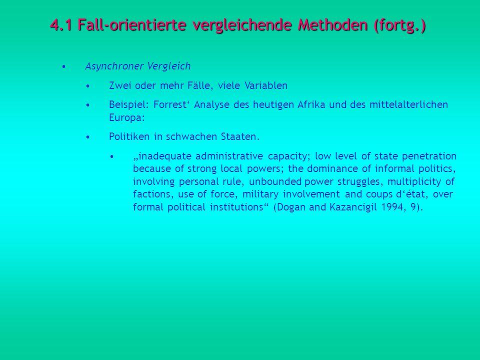 4.1 Fall-orientierte vergleichende Methoden (fortg.) Asynchroner Vergleich Zwei oder mehr Fälle, viele Variablen Beispiel: Forrest Analyse des heutige