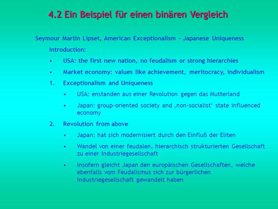 4.2 Ein Beispiel für einen binären Vergleich Seymour Martin Lipset, American Exceptionalism – Japanese Uniqueness Introduction: USA: the first new nat