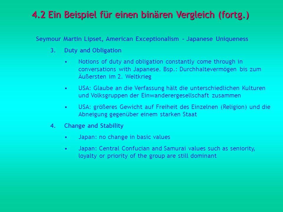 4.2 Ein Beispiel für einen binären Vergleich (fortg.) Seymour Martin Lipset, American Exceptionalism – Japanese Uniqueness 3.Duty and Obligation Notio
