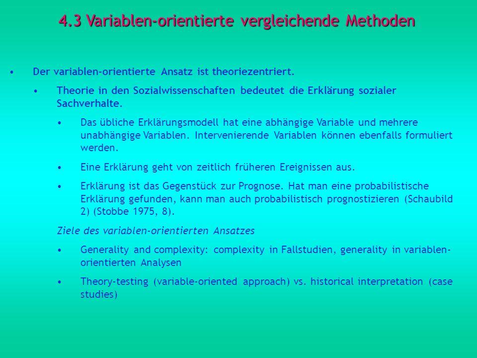 4.3 Variablen-orientierte vergleichende Methoden Der variablen-orientierte Ansatz ist theoriezentriert. Theorie in den Sozialwissenschaften bedeutet d