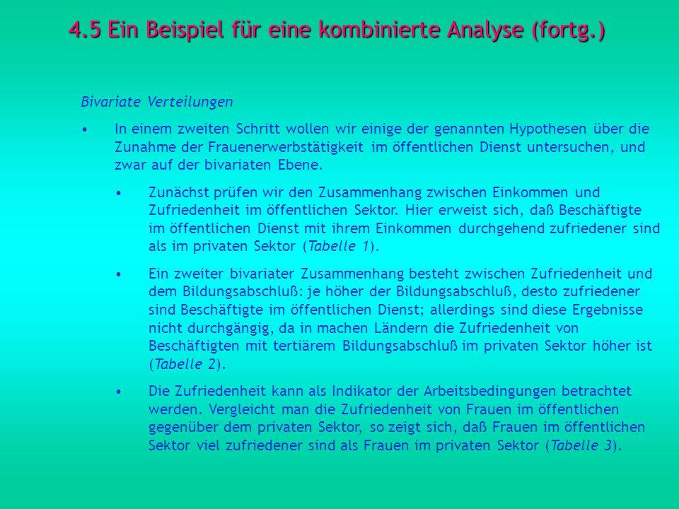 4.5 Ein Beispiel für eine kombinierte Analyse (fortg.) Bivariate Verteilungen In einem zweiten Schritt wollen wir einige der genannten Hypothesen über