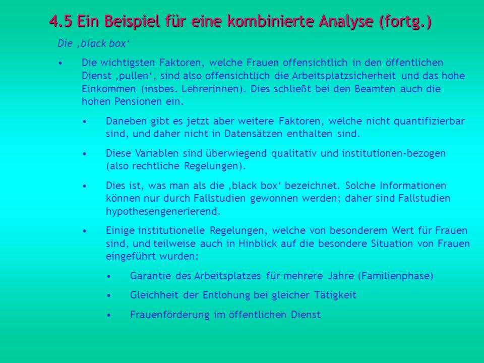 4.5 Ein Beispiel für eine kombinierte Analyse (fortg.) Die black box Die wichtigsten Faktoren, welche Frauen offensichtlich in den öffentlichen Dienst