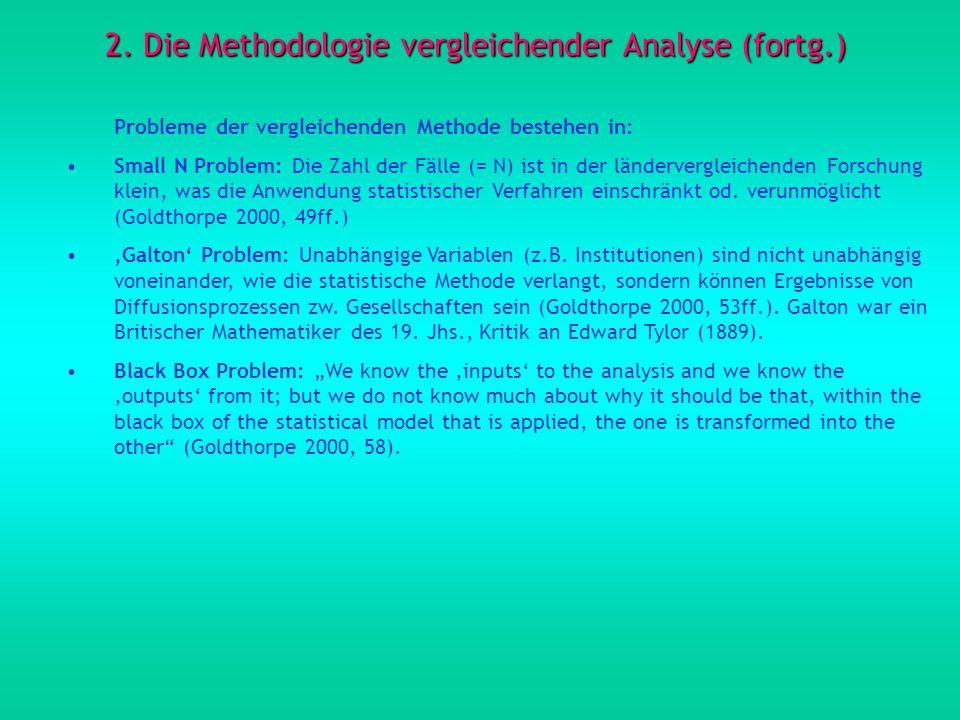 2. Die Methodologie vergleichender Analyse (fortg.) Probleme der vergleichenden Methode bestehen in: Small N Problem: Die Zahl der Fälle (= N) ist in