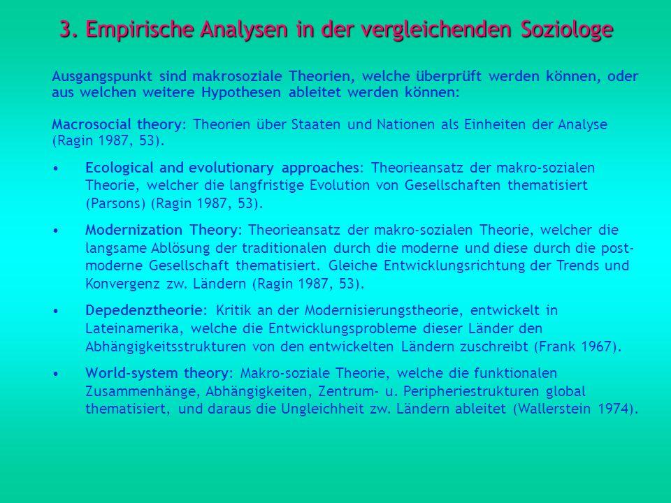 3. Empirische Analysen in der vergleichenden Soziologe Ausgangspunkt sind makrosoziale Theorien, welche überprüft werden können, oder aus welchen weit