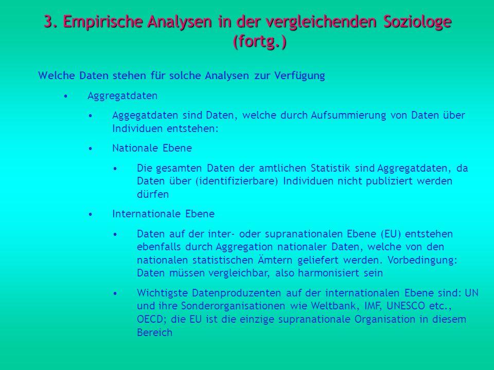 3. Empirische Analysen in der vergleichenden Soziologe (fortg.) Welche Daten stehen für solche Analysen zur Verfügung Aggregatdaten Aggegatdaten sind