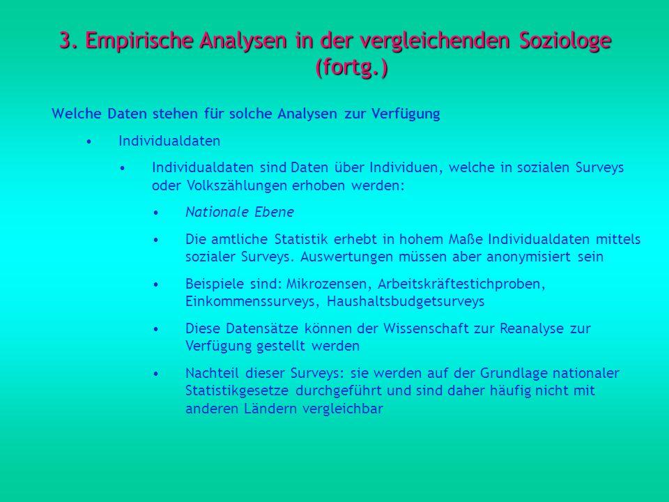 3. Empirische Analysen in der vergleichenden Soziologe (fortg.) Welche Daten stehen für solche Analysen zur Verfügung Individualdaten Individualdaten