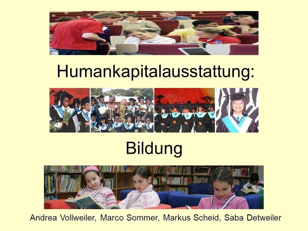 Humankapitalausstattung: Bildung Andrea Vollweiler, Marco Sommer, Markus Scheid, Saba Detweiler