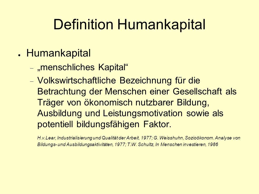 Definition Humankapital Humankapital menschliches Kapital Volkswirtschaftliche Bezeichnung für die Betrachtung der Menschen einer Gesellschaft als Träger von ökonomisch nutzbarer Bildung, Ausbildung und Leistungsmotivation sowie als potentiell bildungsfähigen Faktor.