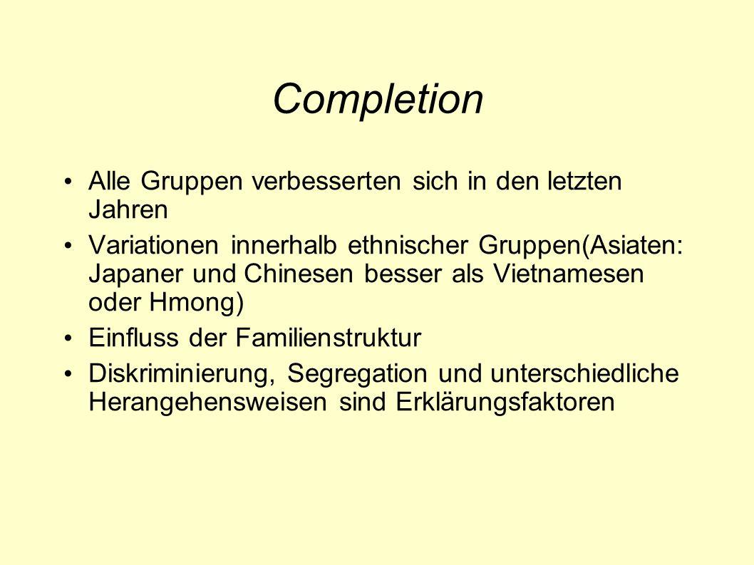 Completion Alle Gruppen verbesserten sich in den letzten Jahren Variationen innerhalb ethnischer Gruppen(Asiaten: Japaner und Chinesen besser als Vietnamesen oder Hmong) Einfluss der Familienstruktur Diskriminierung, Segregation und unterschiedliche Herangehensweisen sind Erklärungsfaktoren