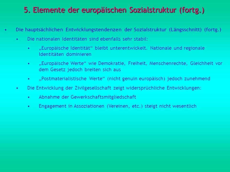5. Elemente der europäischen Sozialstruktur (fortg.) Die hauptsächlichen Entwicklungstendenzen der Sozialstruktur (Längsschnitt) (fortg.) Die national
