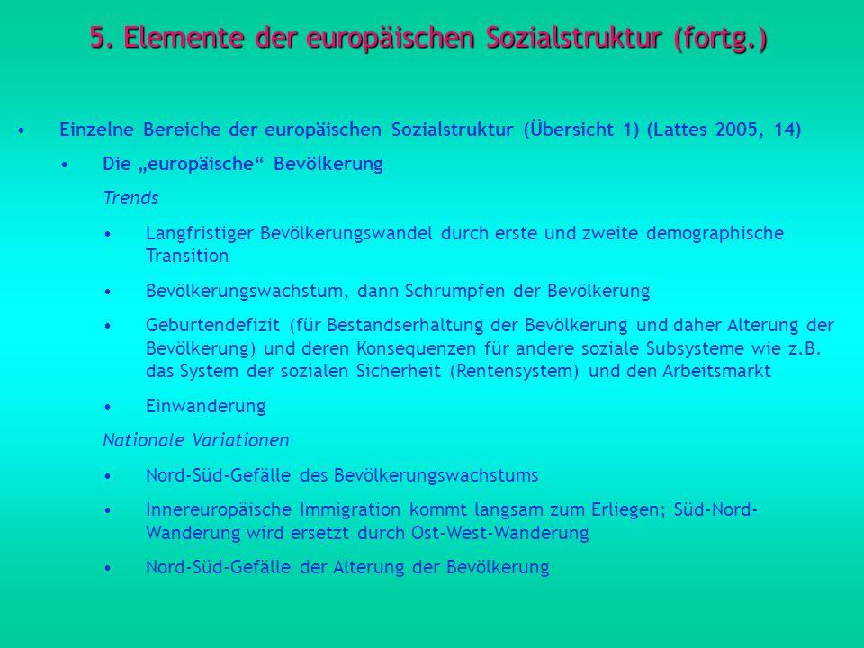 5. Elemente der europäischen Sozialstruktur (fortg.) Einzelne Bereiche der europäischen Sozialstruktur (Übersicht 1) (Lattes 2005, 14) Die europäische