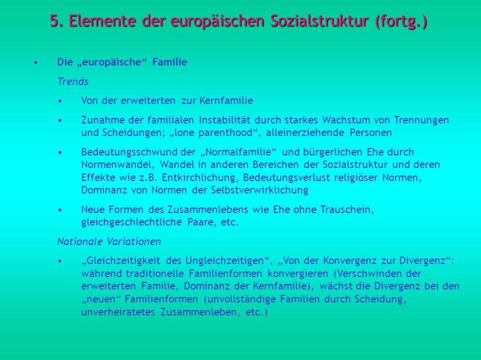 5. Elemente der europäischen Sozialstruktur (fortg.) Die europäische Familie Trends Von der erweiterten zur Kernfamilie Zunahme der familialen Instabi