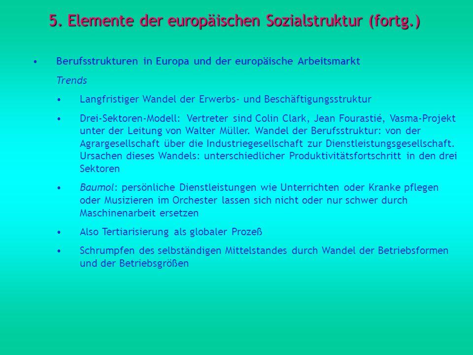 5. Elemente der europäischen Sozialstruktur (fortg.) Berufsstrukturen in Europa und der europäische Arbeitsmarkt Trends Langfristiger Wandel der Erwer