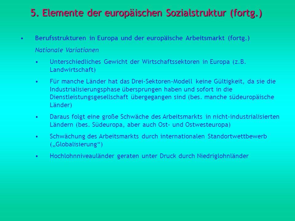 5. Elemente der europäischen Sozialstruktur (fortg.) Berufsstrukturen in Europa und der europäische Arbeitsmarkt (fortg.) Nationale Variationen Unters