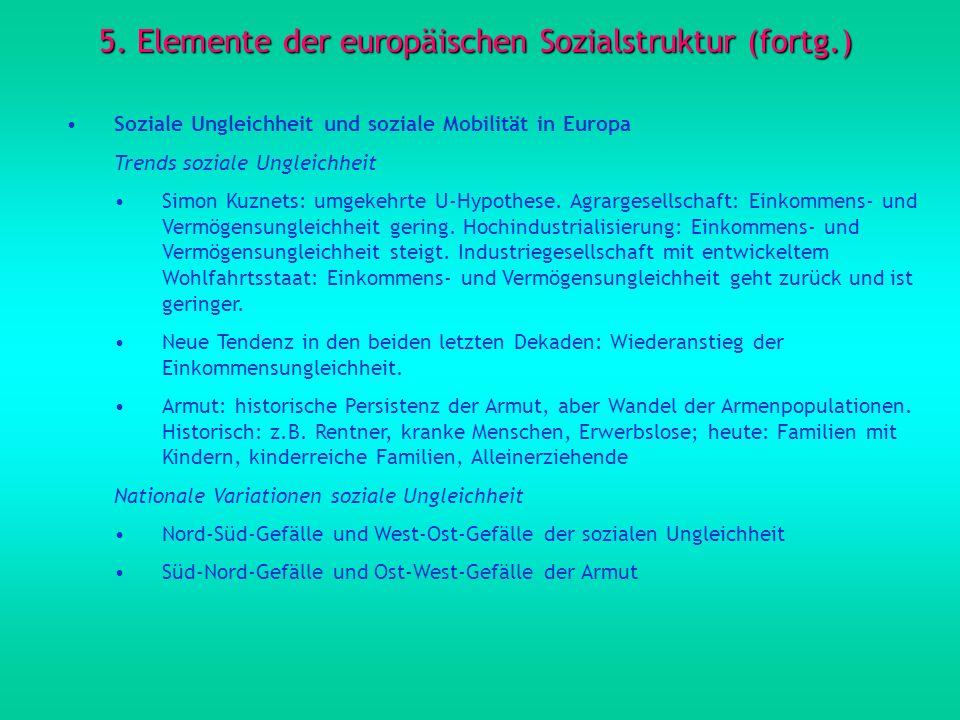 5. Elemente der europäischen Sozialstruktur (fortg.) Soziale Ungleichheit und soziale Mobilität in Europa Trends soziale Ungleichheit Simon Kuznets: u