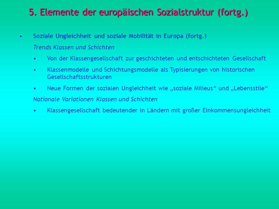 5. Elemente der europäischen Sozialstruktur (fortg.) Soziale Ungleichheit und soziale Mobilität in Europa (fortg.) Trends Klassen und Schichten Von de
