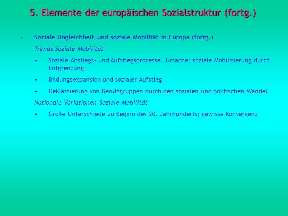 5. Elemente der europäischen Sozialstruktur (fortg.) Soziale Ungleichheit und soziale Mobilität in Europa (fortg.) Trends Soziale Mobilität Soziale Ab