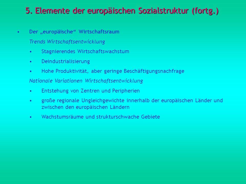 5. Elemente der europäischen Sozialstruktur (fortg.) Der europäische Wirtschaftsraum Trends Wirtschaftsentwicklung Stagnierendes Wirtschaftswachstum D
