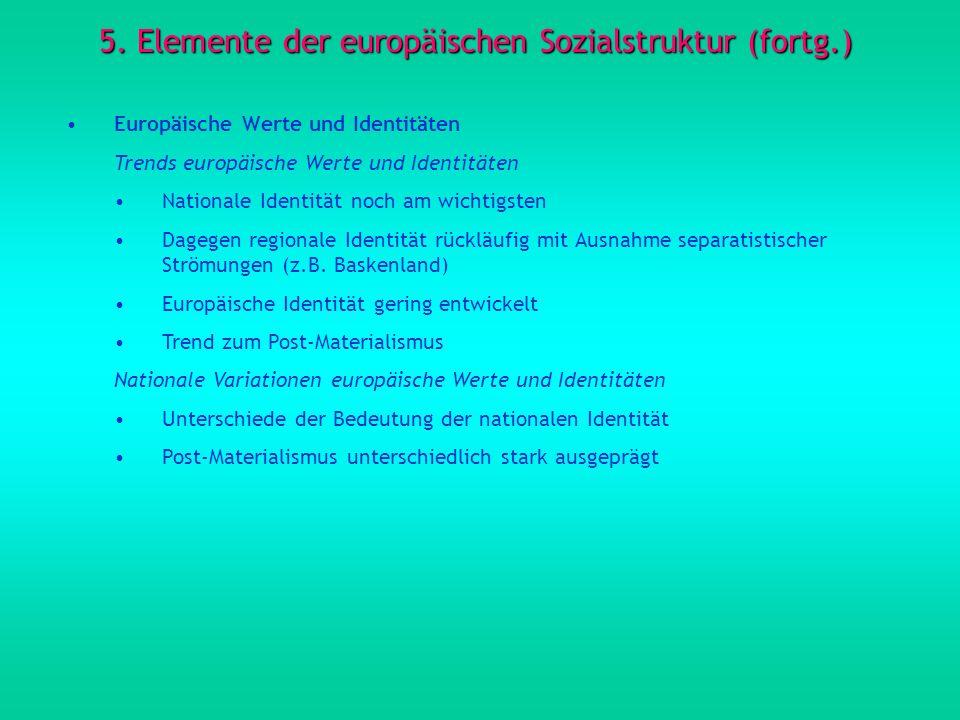 5. Elemente der europäischen Sozialstruktur (fortg.) Europäische Werte und Identitäten Trends europäische Werte und Identitäten Nationale Identität no