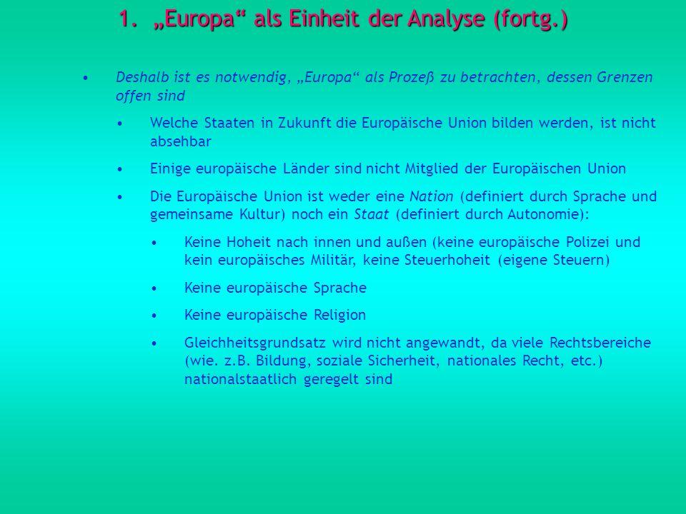 1.Europa als Einheit der Analyse (fortg.) Deshalb ist es notwendig, Europa als Prozeß zu betrachten, dessen Grenzen offen sind Welche Staaten in Zukun