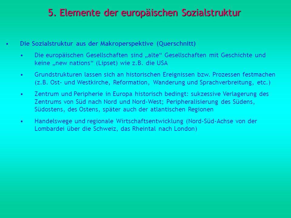 5. Elemente der europäischen Sozialstruktur Die Sozialstruktur aus der Makroperspektive (Querschnitt) Die europäischen Gesellschaften sind alte Gesell