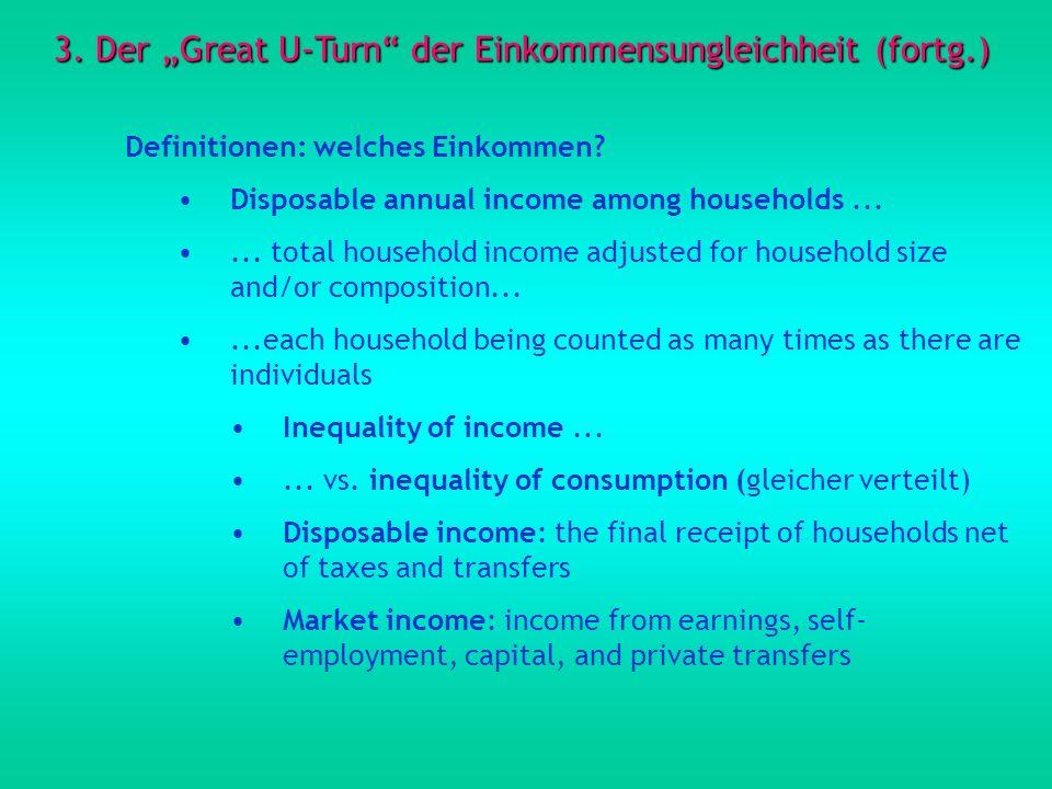 3. Der Great U-Turn der Einkommensungleichheit (fortg.) Definitionen: welches Einkommen? Disposable annual income among households...... total househo