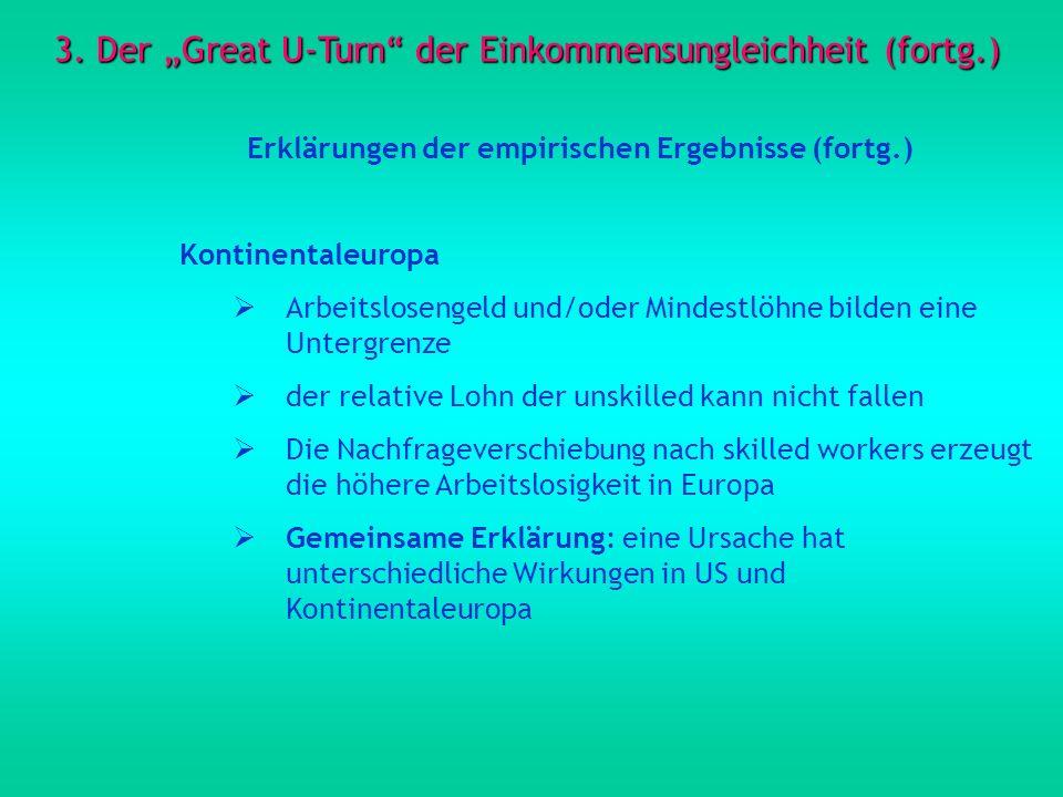 3. Der Great U-Turn der Einkommensungleichheit (fortg.) Erklärungen der empirischen Ergebnisse (fortg.) Kontinentaleuropa Arbeitslosengeld und/oder Mi