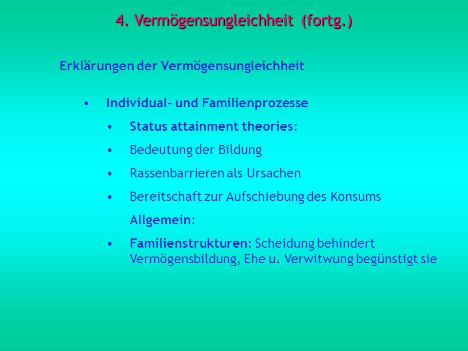 4. Vermögensungleichheit (fortg.) Erklärungen der Vermögensungleichheit Individual- und Familienprozesse Status attainment theories: Bedeutung der Bil