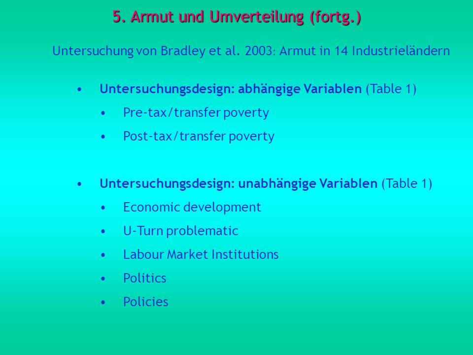 5. Armut und Umverteilung (fortg.) Untersuchung von Bradley et al. 2003 : Armut in 14 Industrieländern Untersuchungsdesign: abhängige Variablen (Table