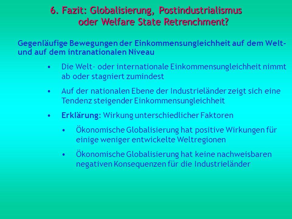 6. Fazit: Globalisierung, Postindustrialismus oder Welfare State Retrenchment? Gegenläufige Bewegungen der Einkommensungleichheit auf dem Welt- und au