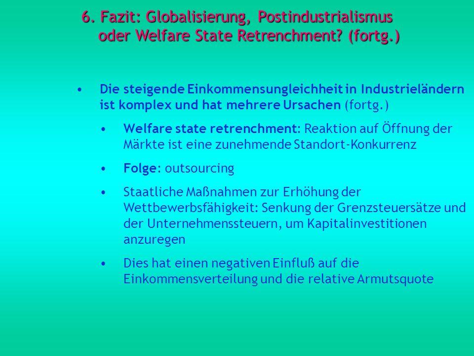 6. Fazit: Globalisierung, Postindustrialismus oder Welfare State Retrenchment? (fortg.) Die steigende Einkommensungleichheit in Industrieländern ist k