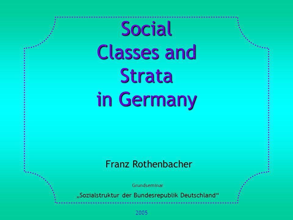 Nivellierte Mittelstandsgesellschaft (Helmut Schelsky 1979) Die Überwindung der Klassenstruktur der bürgerlichen Gesellschaft sei in Deutschland am weitesten fortgeschritten.