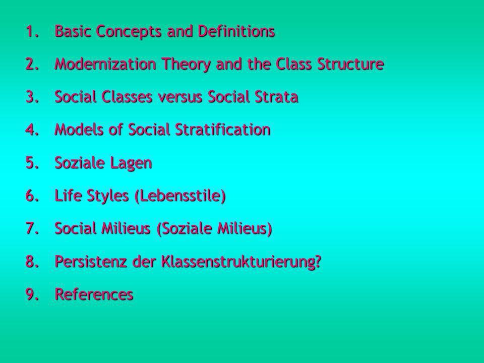 1.Basic Concepts and Definitions Soziale Klasse Klassen werden in den Sozialwissenschaften jene Gruppierungen innerhalb von Gefügen sozialer Ungleichheit genannt, die aufgrund ihrer Stellung innerhalb des Wirschaftsprozesses anderen Gruppierungen über- oder unterlegen sind (z.B.