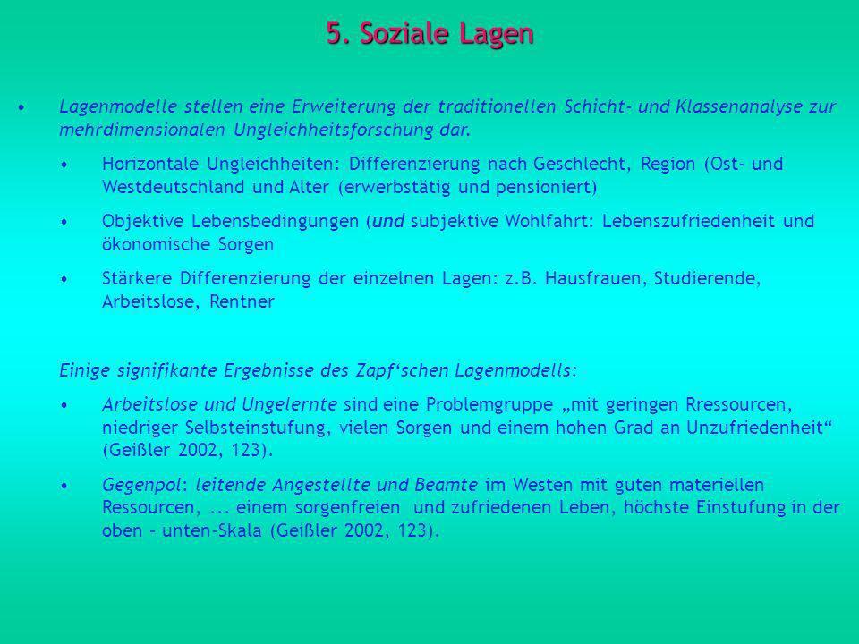 5. Soziale Lagen Lagenmodelle stellen eine Erweiterung der traditionellen Schicht- und Klassenanalyse zur mehrdimensionalen Ungleichheitsforschung dar