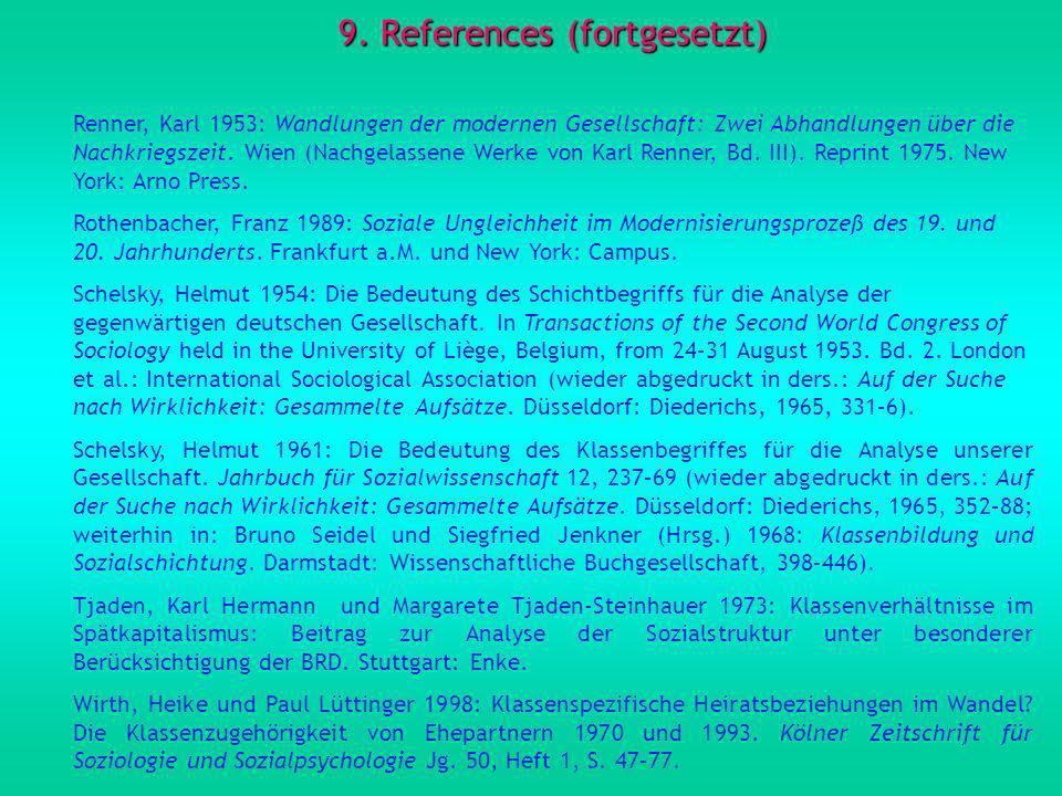 9. References (fortgesetzt) Renner, Karl 1953: Wandlungen der modernen Gesellschaft: Zwei Abhandlungen über die Nachkriegszeit. Wien (Nachgelassene We