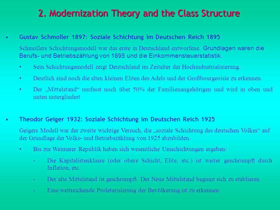 2. Modernization Theory and the Class Structure Gustav Schmoller 1897: Soziale Schichtung im Deutschen Reich 1895 Schmollers Schichtungsmodell war das