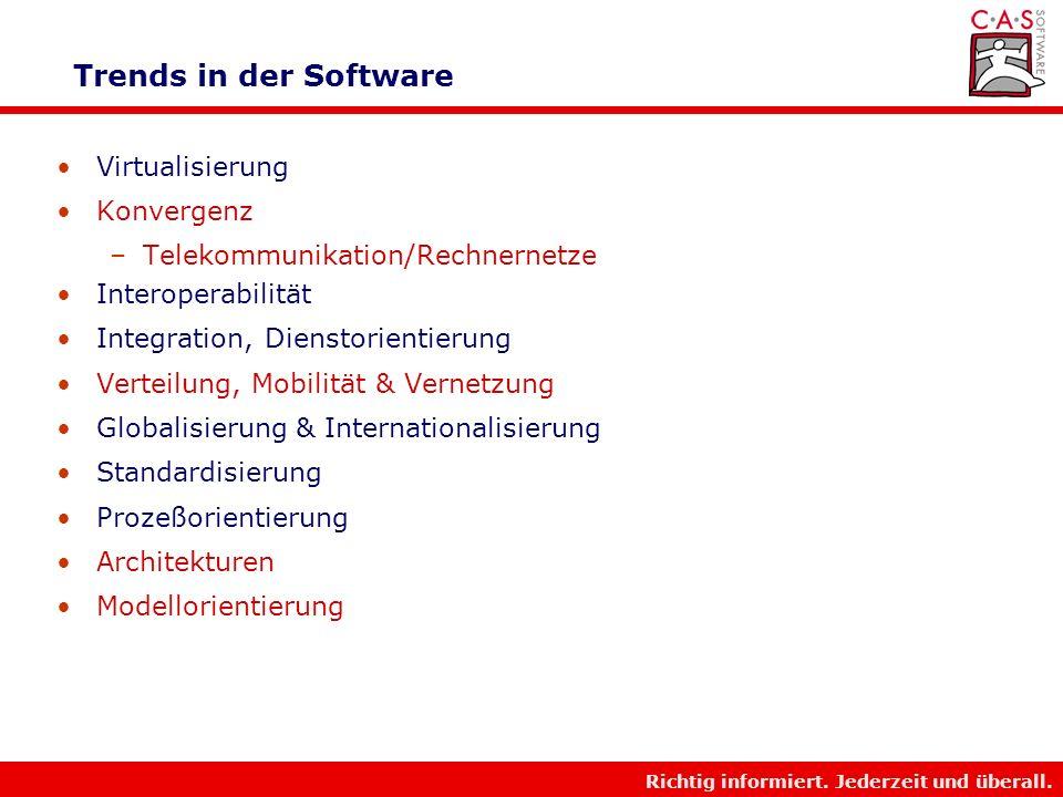 Richtig informiert. Jederzeit und überall. Globale IT Trends Leistungszunahme Potential –Hardware - Performanz –Software - Funktionalität Komplexität
