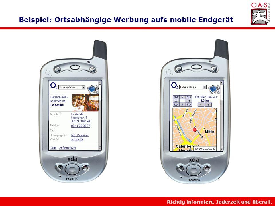 Richtig informiert. Jederzeit und überall. Beispiel: Ortsabhängige Werbung aufs mobile Endgerät