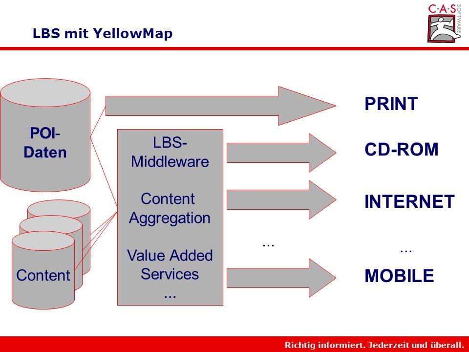 Richtig informiert. Jederzeit und überall. LBS mit YellowMap Mobil Internet Voice Print Etc.
