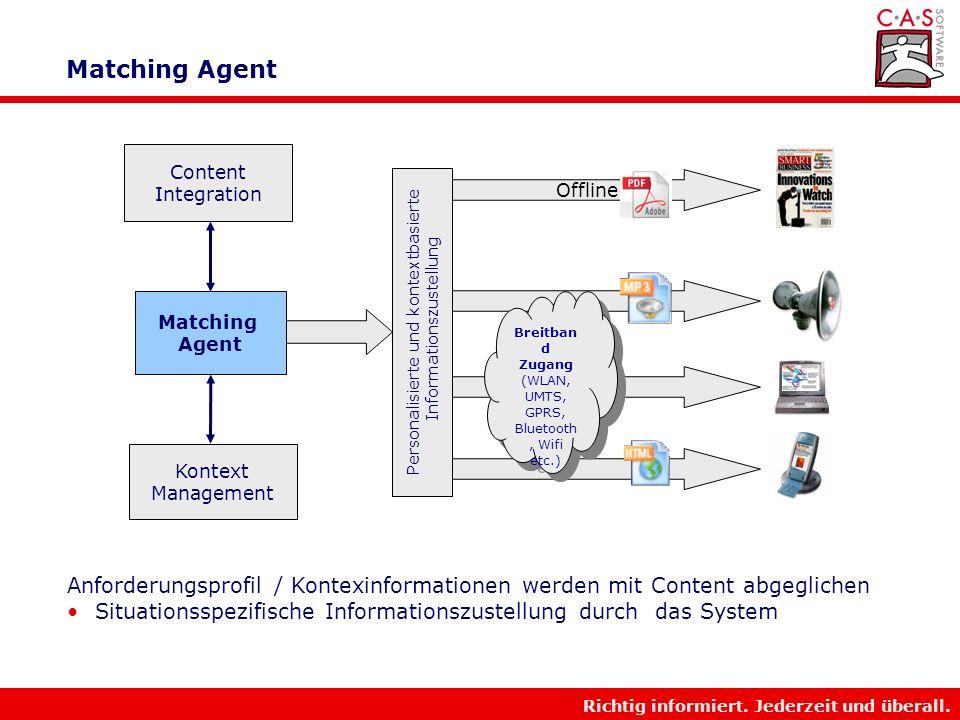 Richtig informiert. Jederzeit und überall. Multimodaler Zugang PDF Etc. TTS Wap HTML / Flash Content Integration Multimodal Broadband Access Context M