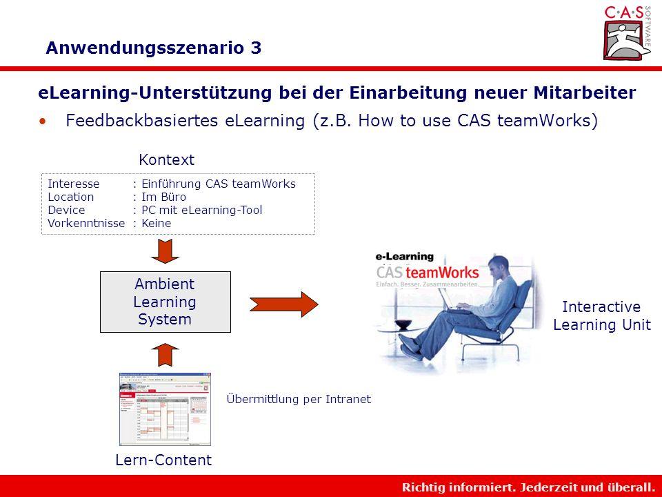 Richtig informiert. Jederzeit und überall. Anwendungsszenario 2 Vorbereitung auf Beratungsgespräch mit Kunden Push der neusten Produktinformationen au