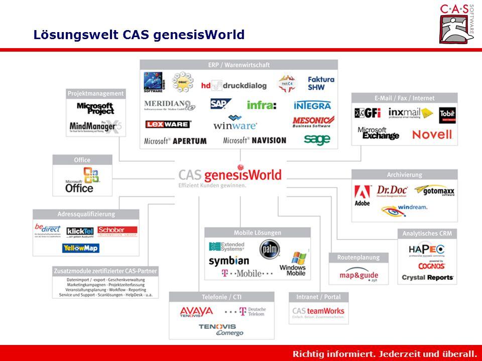 Richtig informiert. Jederzeit und überall. CAS Software AG im Überblick Motto Richtig informiert. Jederzeit und Überall. Marktpositionierung CAS ist A