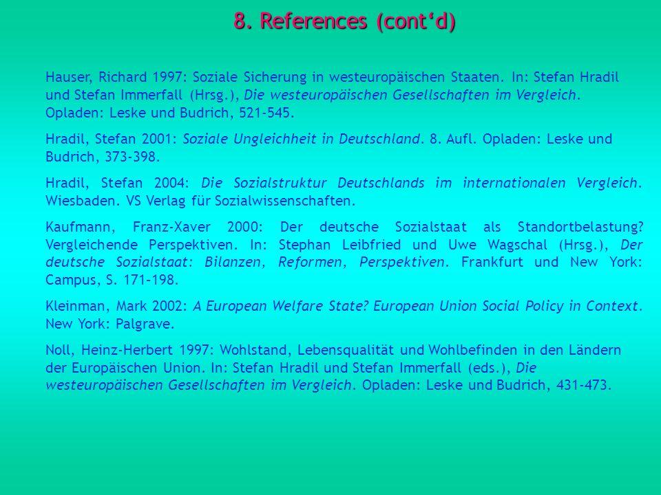 8. References (contd) Hauser, Richard 1997: Soziale Sicherung in westeuropäischen Staaten.