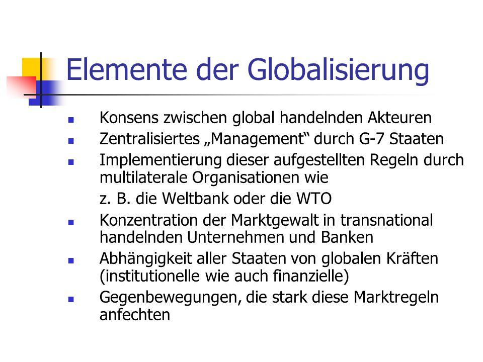 Elemente der Globalisierung Konsens zwischen global handelnden Akteuren Zentralisiertes Management durch G-7 Staaten Implementierung dieser aufgestellten Regeln durch multilaterale Organisationen wie z.