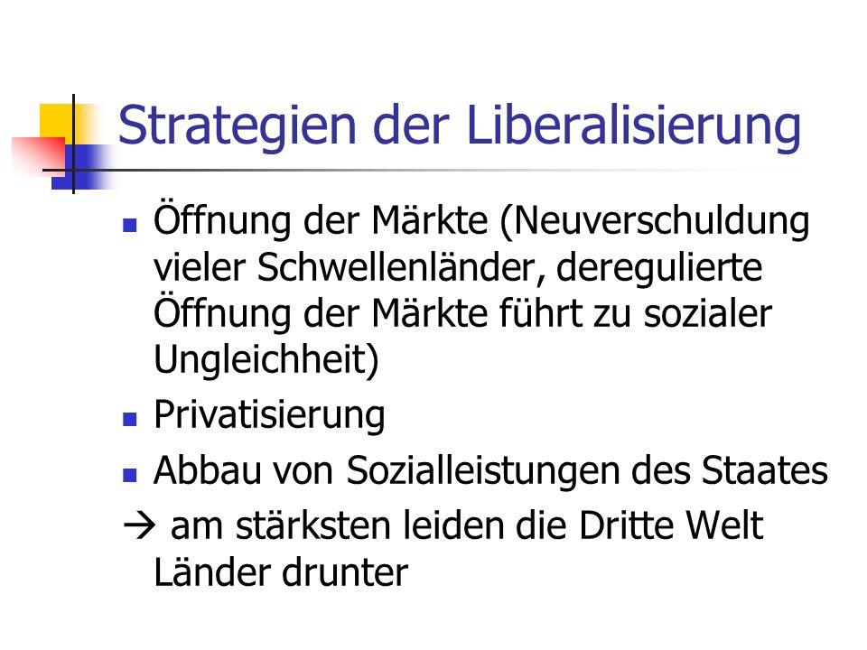 Strategien der Liberalisierung Öffnung der Märkte (Neuverschuldung vieler Schwellenländer, deregulierte Öffnung der Märkte führt zu sozialer Ungleichheit) Privatisierung Abbau von Sozialleistungen des Staates am stärksten leiden die Dritte Welt Länder drunter