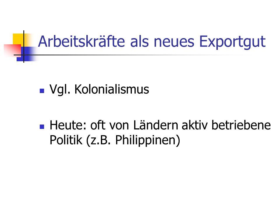 Arbeitskräfte als neues Exportgut Vgl.