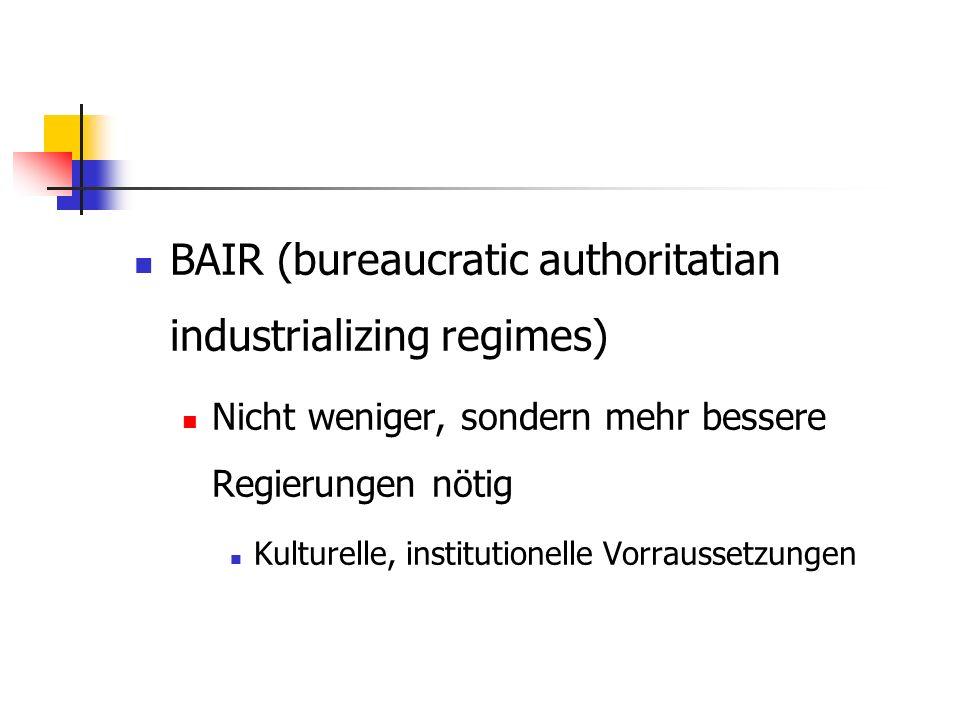 BAIR (bureaucratic authoritatian industrializing regimes) Nicht weniger, sondern mehr bessere Regierungen nötig Kulturelle, institutionelle Vorraussetzungen