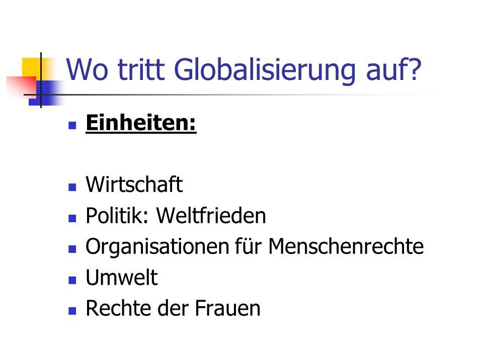 Wo tritt Globalisierung auf.