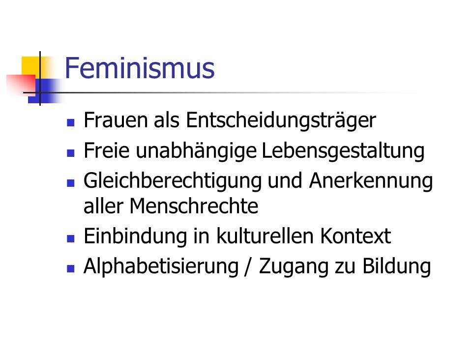 Feminismus Frauen als Entscheidungsträger Freie unabhängige Lebensgestaltung Gleichberechtigung und Anerkennung aller Menschrechte Einbindung in kulturellen Kontext Alphabetisierung / Zugang zu Bildung