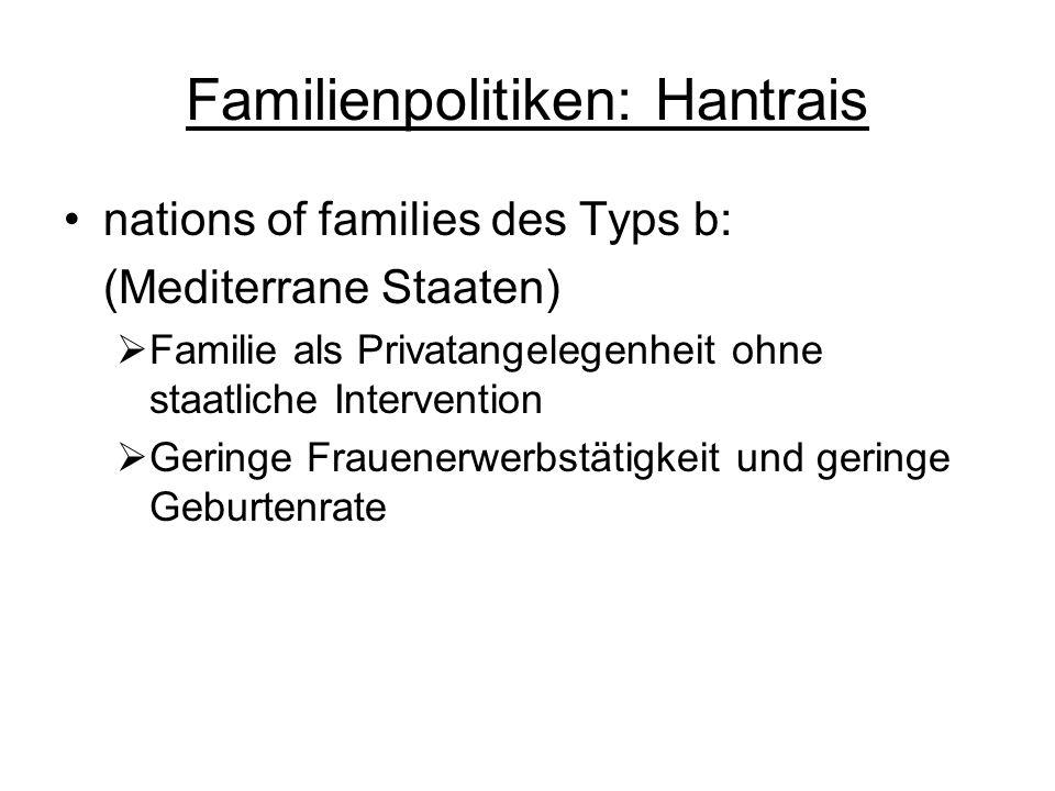 Familienpolitiken: Hantrais nations of families des Typs b: (Mediterrane Staaten) Familie als Privatangelegenheit ohne staatliche Intervention Geringe